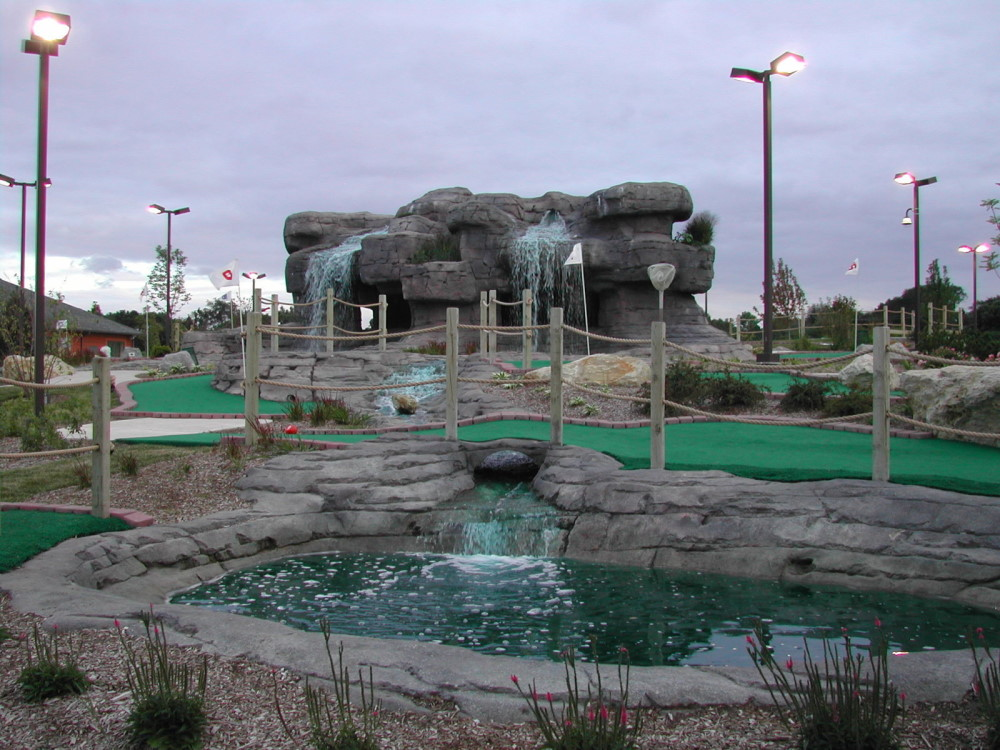 waterfall and cave mini golf course design