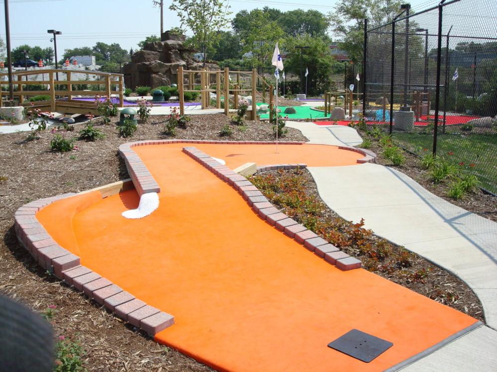orange carpet mini golf course design