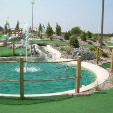 blue water fountain mini golf course design