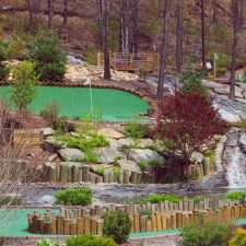 hillside stream mini golf shot