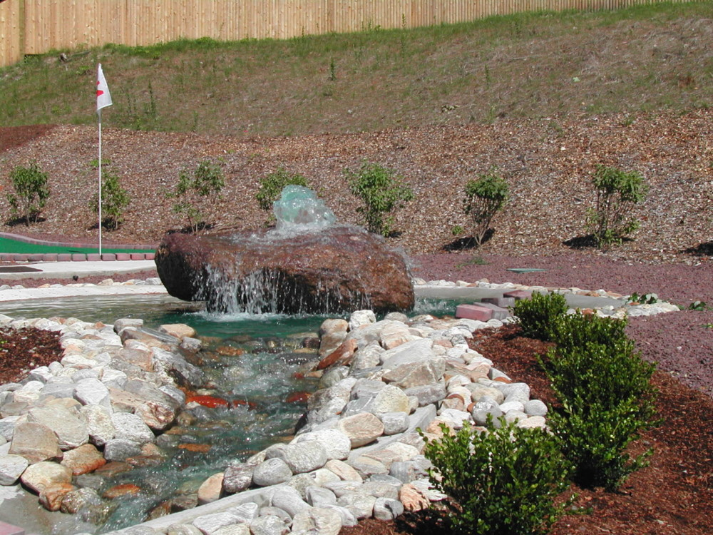 fountain out of rock mini golf course design