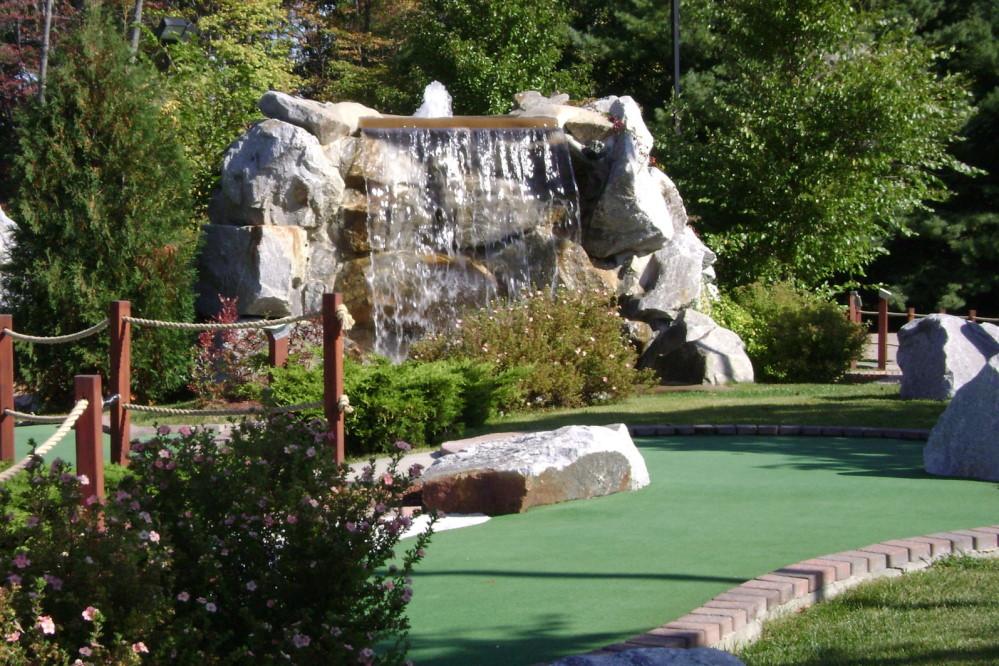 large waterfall mini golf course design